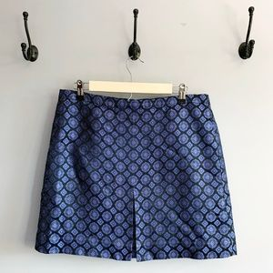 J. Crew Geometric Floral Pattern Silk Mini Skirt